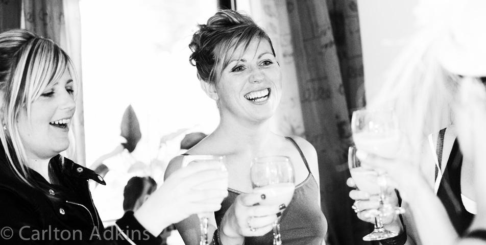 bridesmaid celebrate before wedding ceremony in cheshire