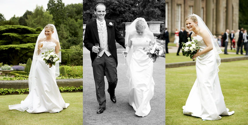 photography of the brides stunning wedding dress at Tatton Hall Cheshire