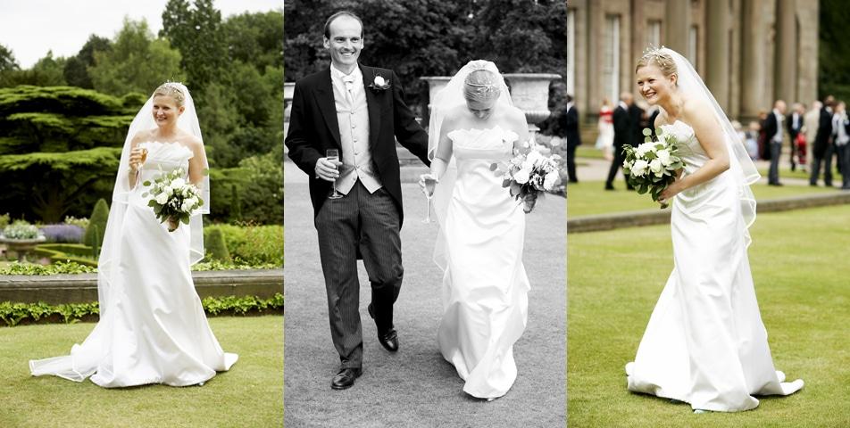 photography of the brides stunning wedding dress at Tatton Hall Cheshire