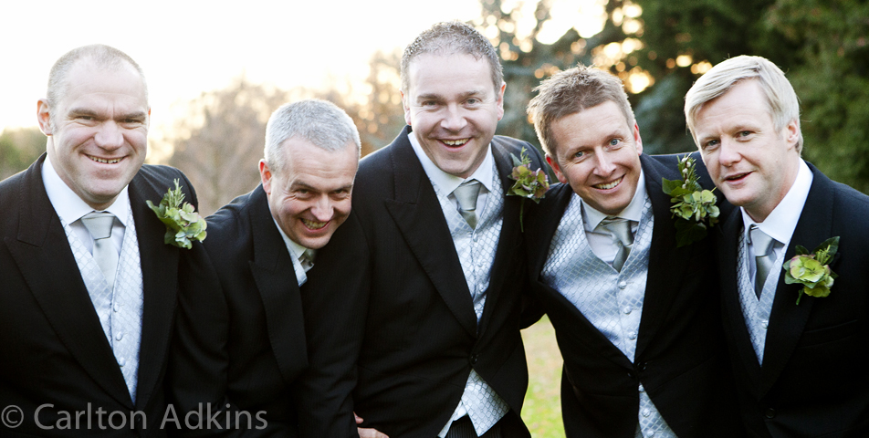 the groom and ushers at Rowton Hall Chester