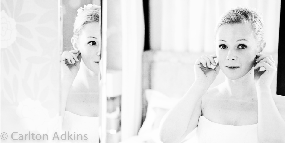 wedding Photography of the bride getting ready at Rowton Hall Chester