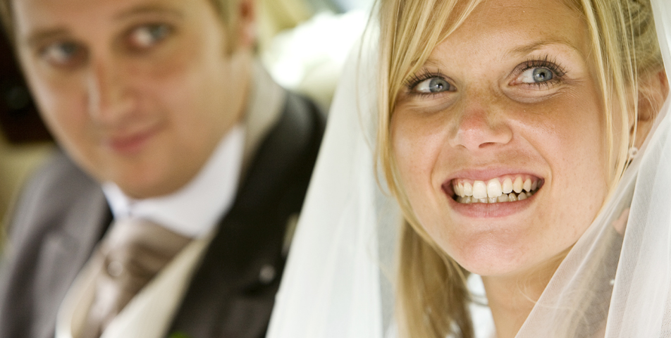 """""""bride and groom in the wedding car"""""""