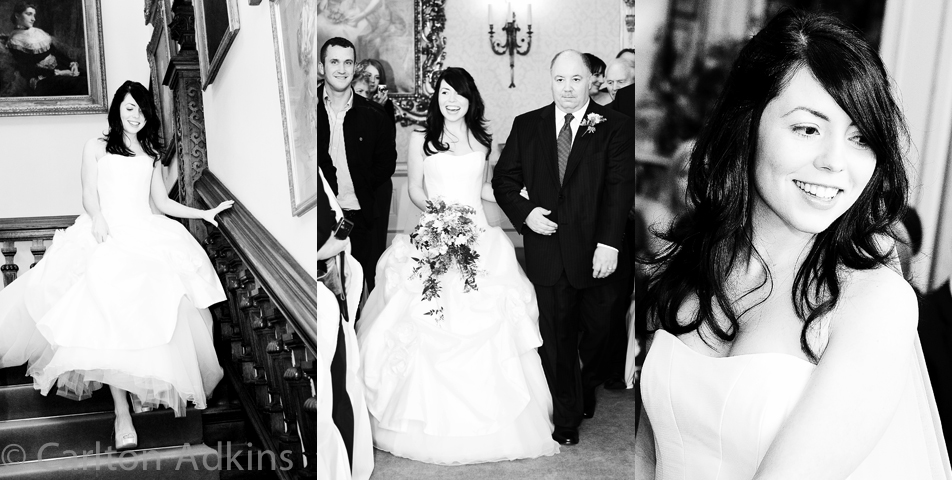 the bride and father before the wedding ceremony at Arley Hall