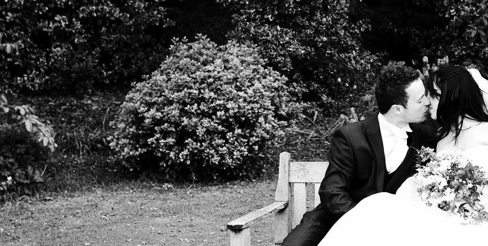 the bride and groom at Arley Hall Wedding Venue