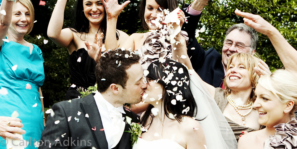 wedding confetti outside Arley Hall Cheshire