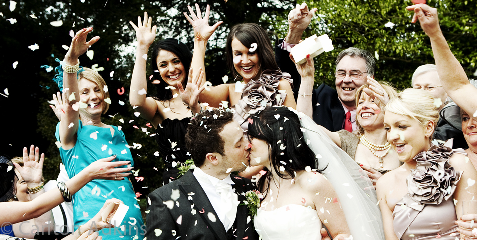 wedding photography of confetti outside Arley hall cheshire