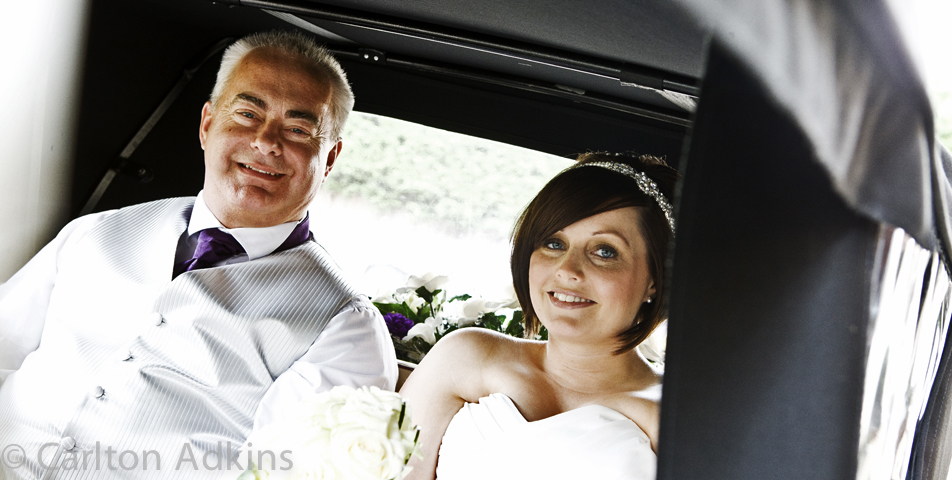 photography of the bride in the wedding car at rookery hall cheshire