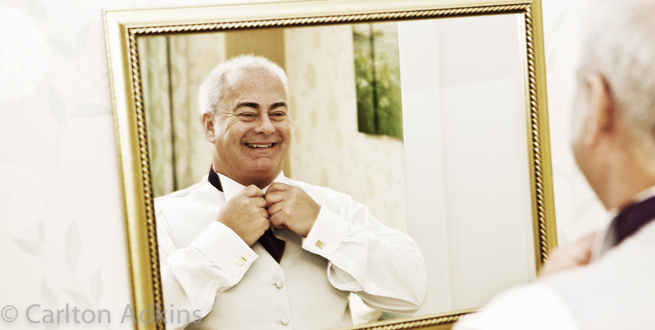 photography of the brides father before the wedding ceremony at rookery hall cheshire