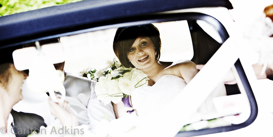 wedding photography of the bride arriving at rookery hall cheshire