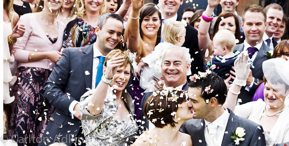 wedding photography of the confetti outside rookery hall cheshire
