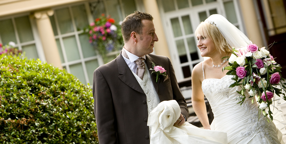"""contemporary wedding photography of bride and groom at ringwood hall hotel derbyshire"""