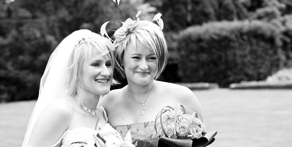 """bride and bridesmaid wedding photography derbyshire"""