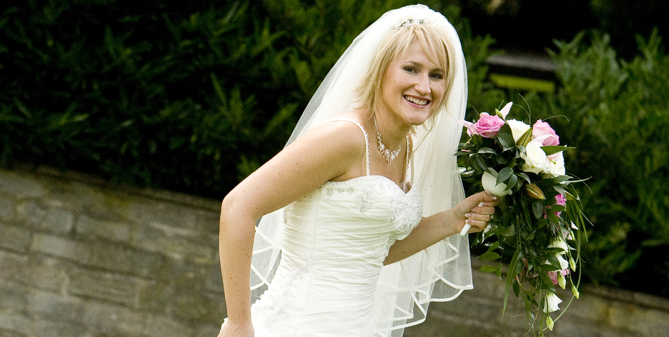 """wedding photography of bride holding wedding bouquet Derbyshire"""