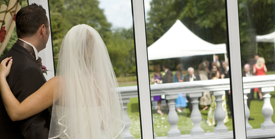 """the bride and groom at the wedding venue ringwood hall hotel derbyshire"""