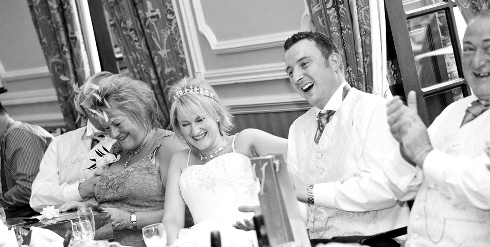 """wedding photography of the wedding breakfast and speeches at ringwood hall hotel derbyshire"""