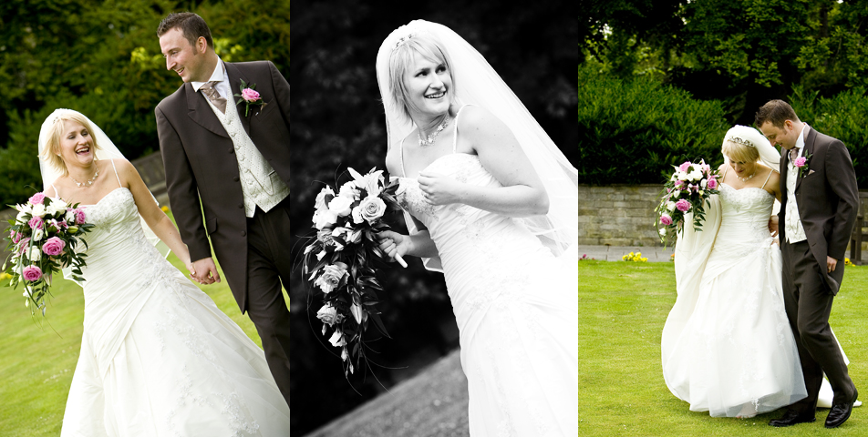relaxed and informal photography of the bride and groom in the grounds of Ringwood Hall Hotel wedding venue