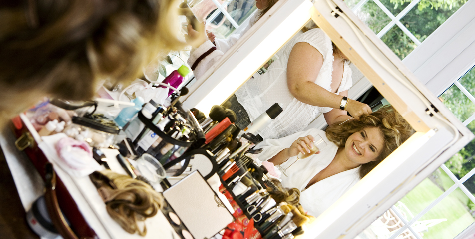 """Wedding photography of bride getting ready in Cheshire"""