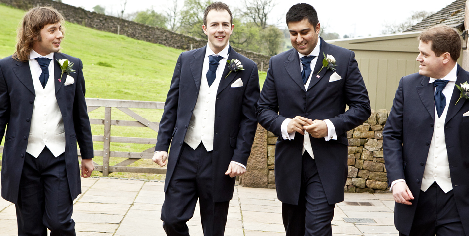 """wedding photography of the groom and ushers staffordshire"""