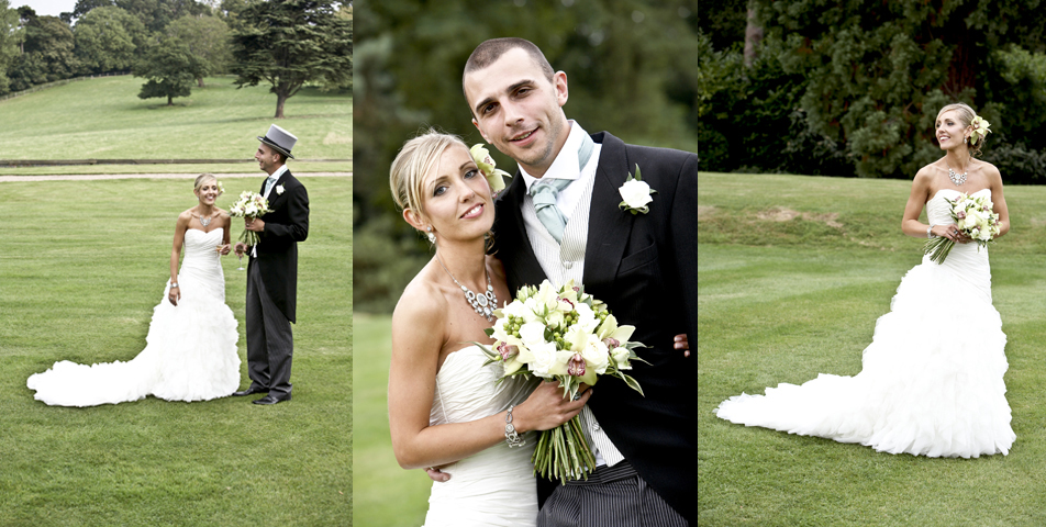 Photographic images of the wedding couple in the grounds of Rolleston Hll