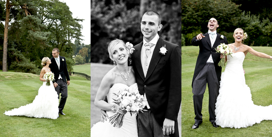 The bride and groom posing for wedding photography at the fabulous wedding venue Rolleston Hall