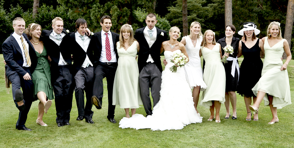 The wedding party group photographs in Staffordshire