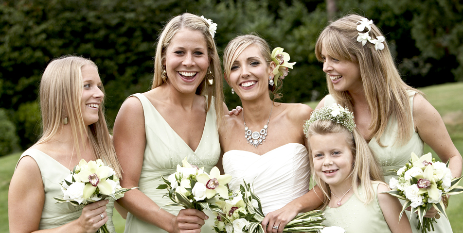 The bridesmaids all together for the Staffordshire wedding at Rolleston Hall