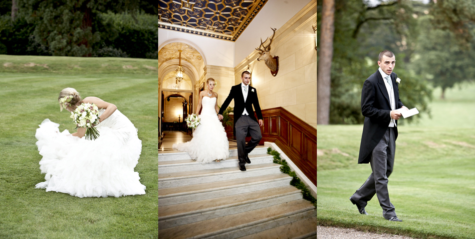The bride and groom on their way to the wedding breakfast at Rolleston hall Staffordshire