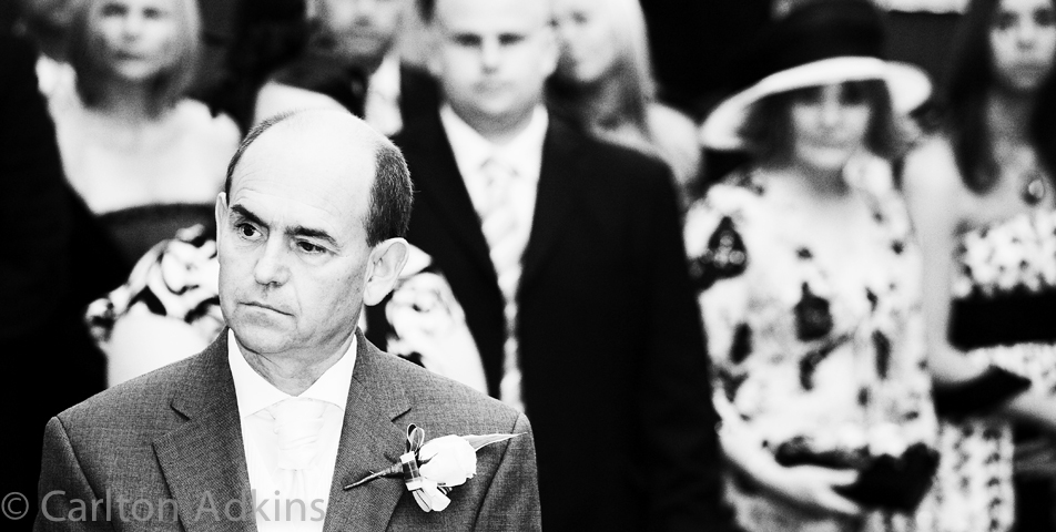 photography of the father of the bride at the cheshire wedding ceremony