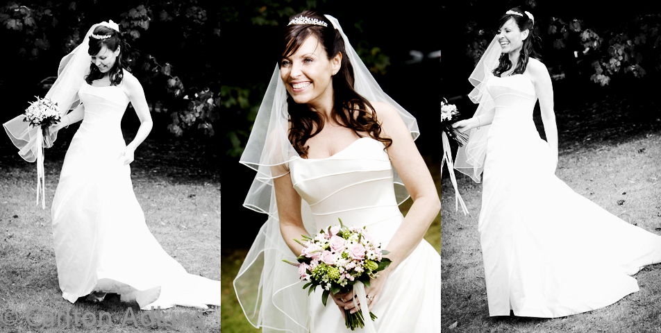 the bride poses for the wedding photographer in cheshire