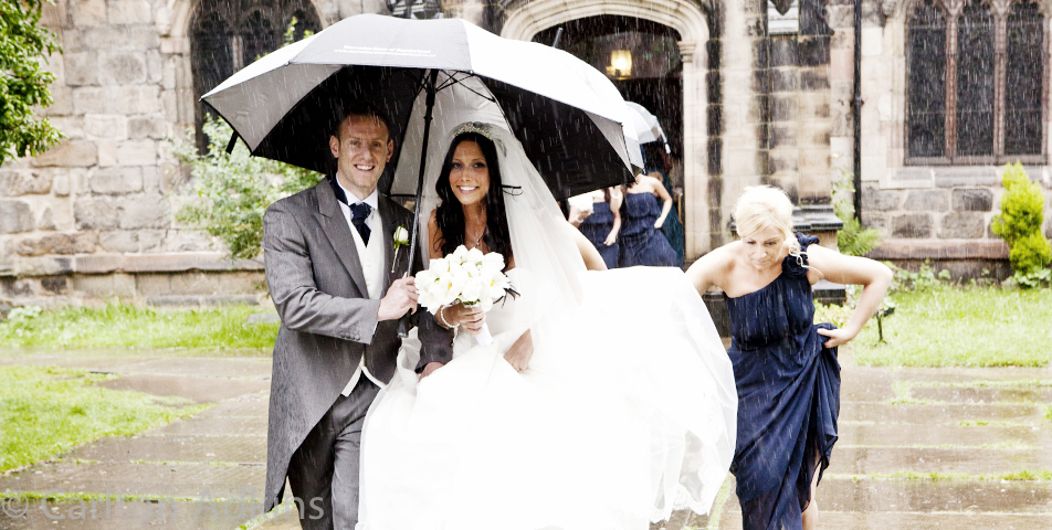 bride and groom at the church in wilmslow