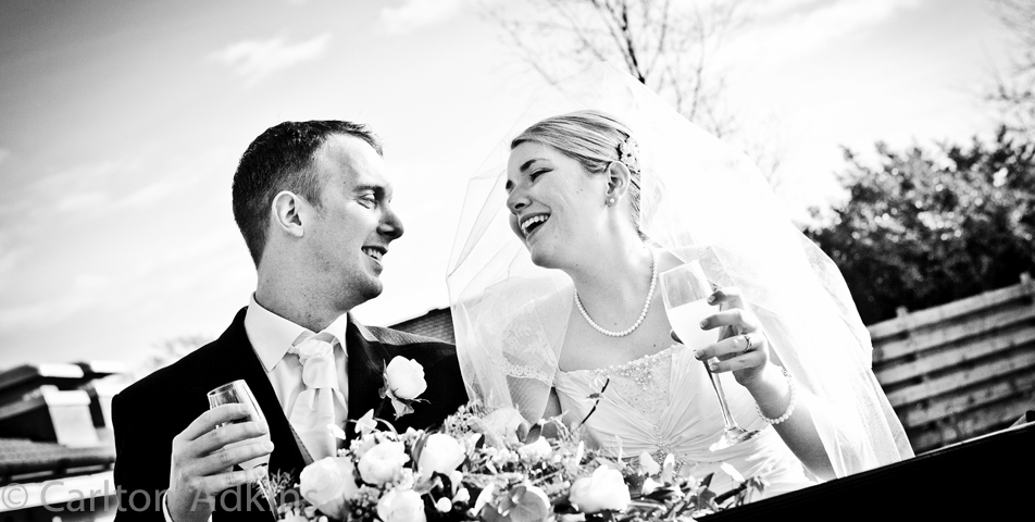 the bride and groom celebrate their wedding at Styal Lodge