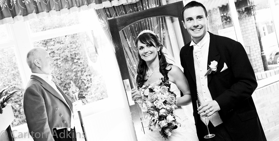 photography of the bride and arriving for the wedding breakfast in cheshire