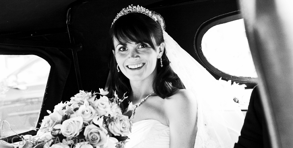 photography of the bride in the car