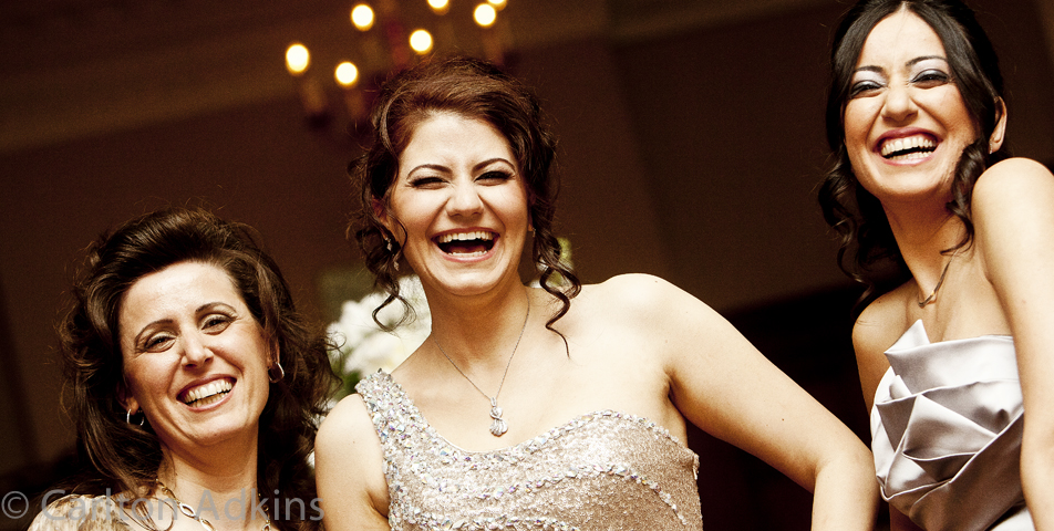 photography of the guests at the Midland Hotel engagement party