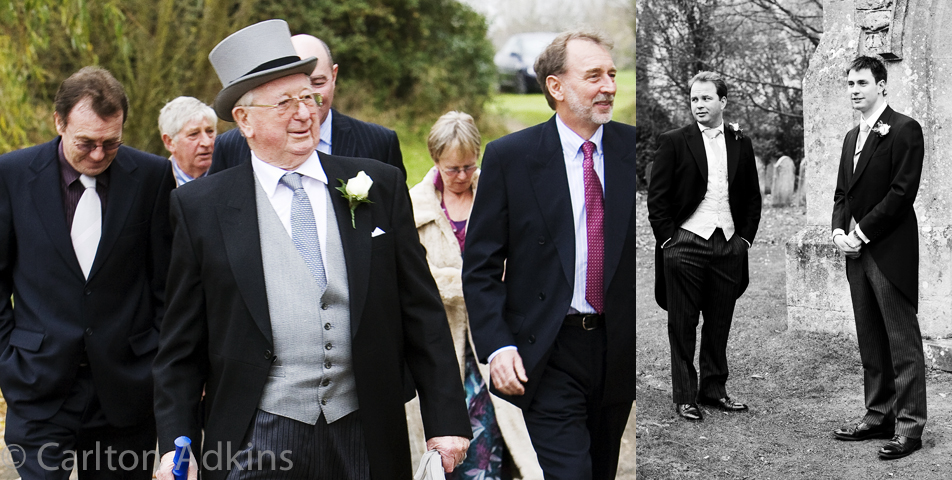 photography of the wedding party arriving at the cheshire church