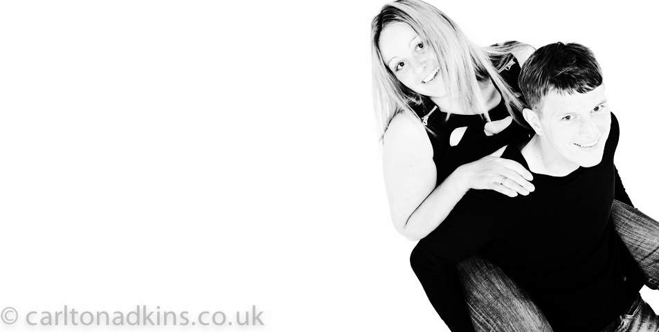 black and white studio photography for an engagement