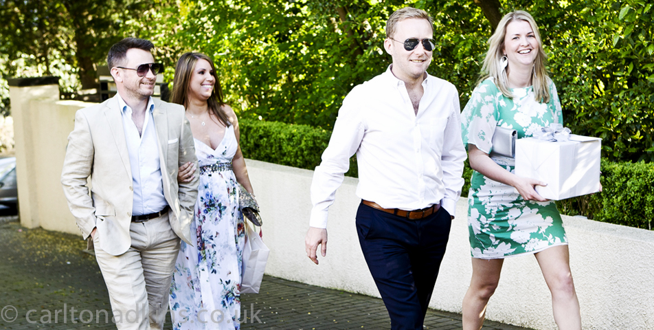 photography of the wedding guests arriving in cheshire