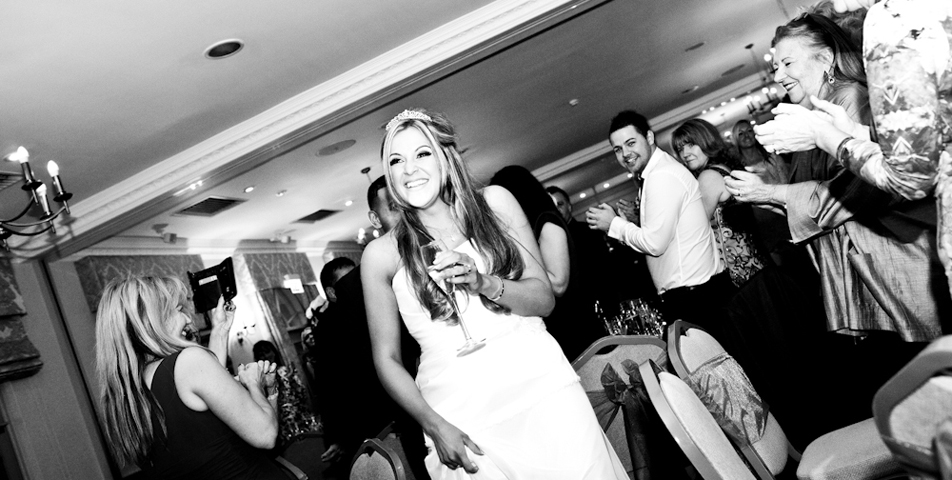 the bride and grrom at the wedding breakfast at mottram hall cheshire