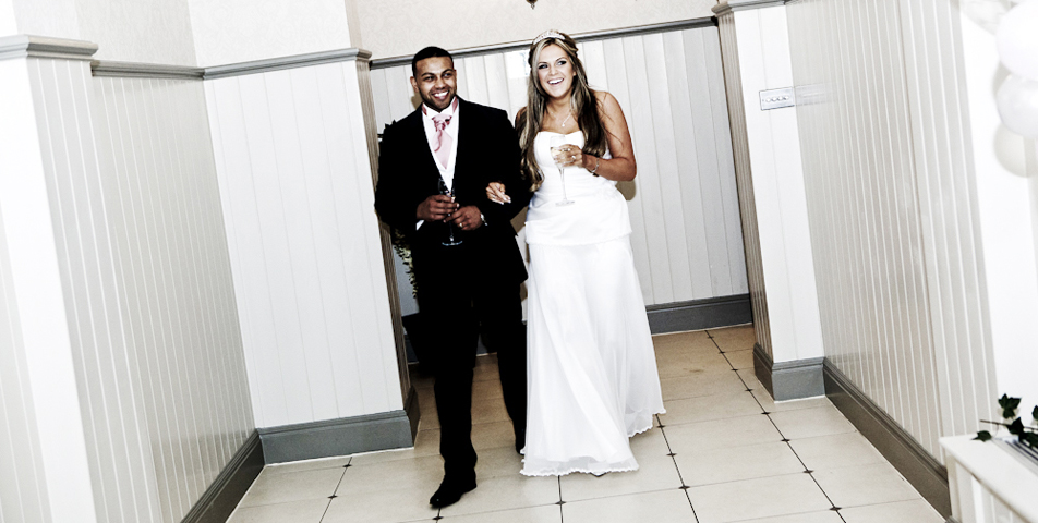 wedding photography of the bride and before the wedding breakfast at mottram hall cheshire