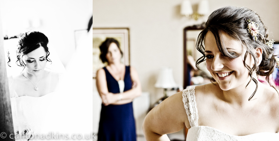photography of the bride getting ready for the wedding ceremony at cheshire