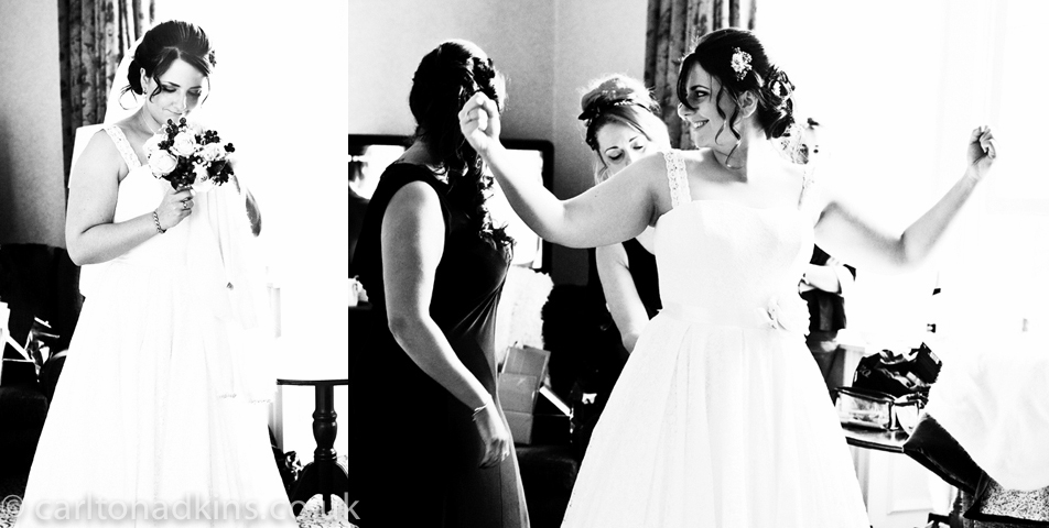 photography of the bride getting ready for the wedding ceremony at shrigley hall macclesfield cheshire