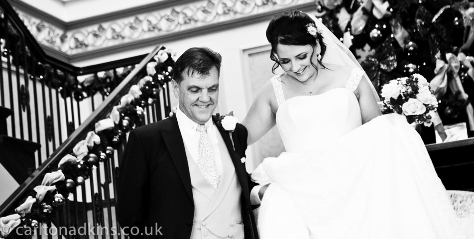 photography of the bride on her way to the wedding ceremony at shrigley hall macclesfield cheshire