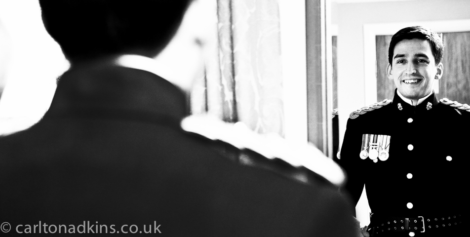 wedding photography of the groom getting ready at shrigley hall macclesfield cheshire