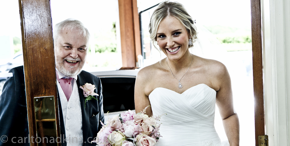 photography of the bride and father at the cheshire ceremony
