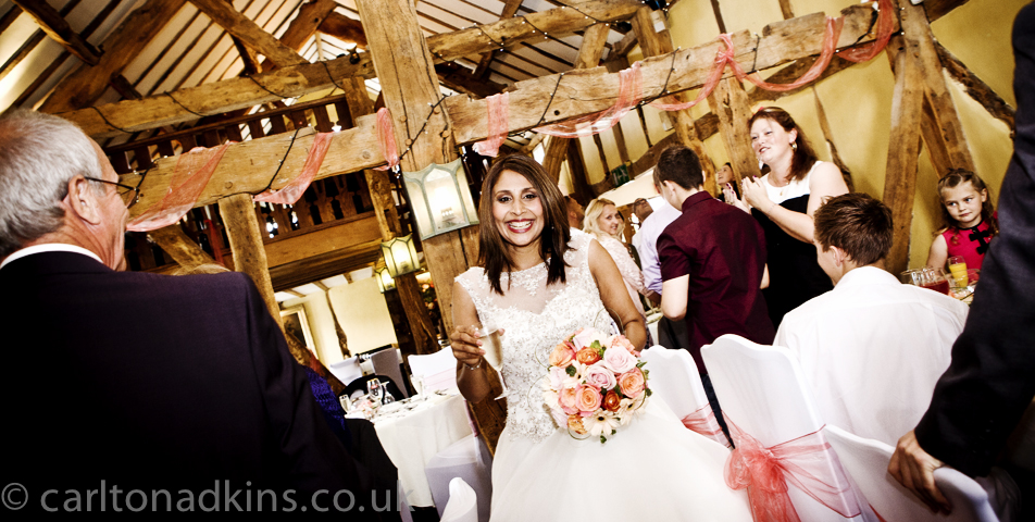 photography of the bride arriving at the wedding breakfast in congleton cheshire