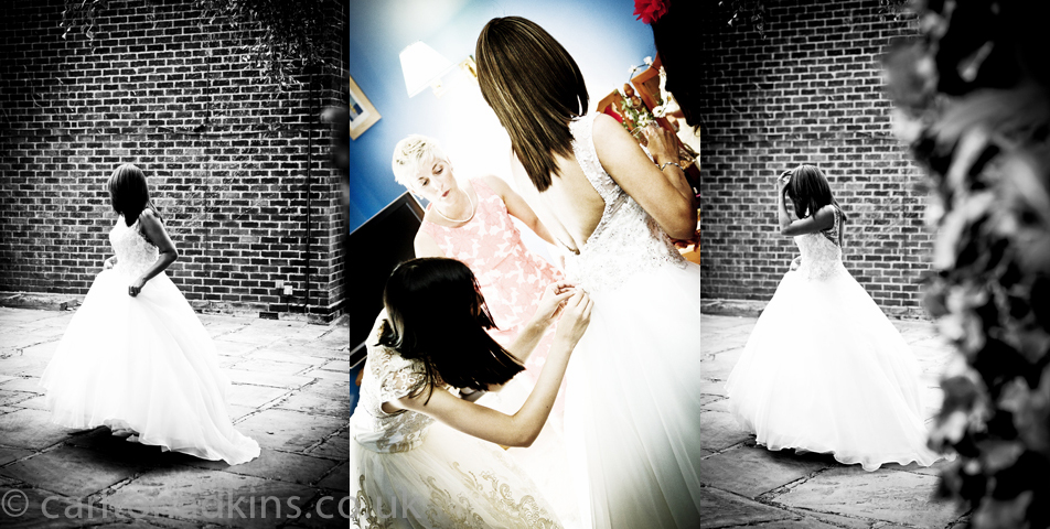 photography of the bride in her wedding dress in cheshire