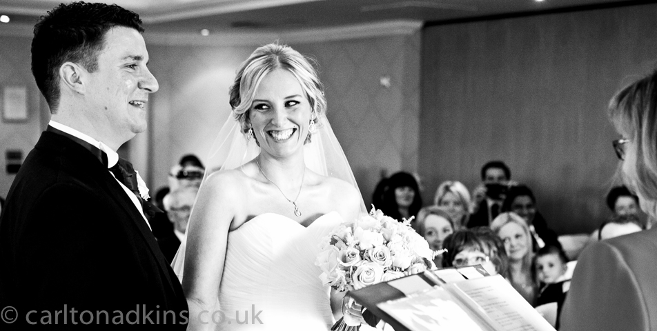photography of the civil wedding ceremony at the cottons hotel wilmslow cheshire