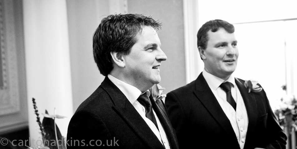 photography of the groom at the wedding ceremony in cheshire
