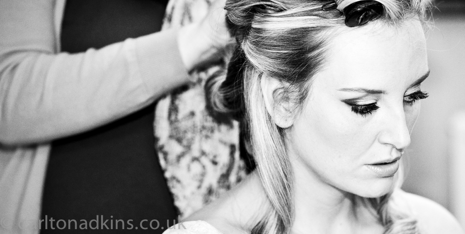 wedding photography of the bride getting ready in cheshire