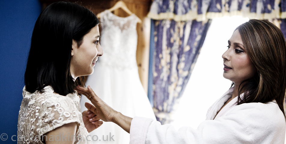 wedding photography of the bride getting ready in congleton cheshire